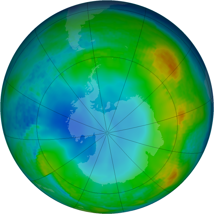 Antarctic ozone map for 16 June 2002